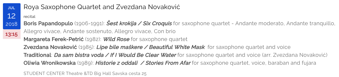 Roya Saxophone Quartet and Zvezdana Novakovic